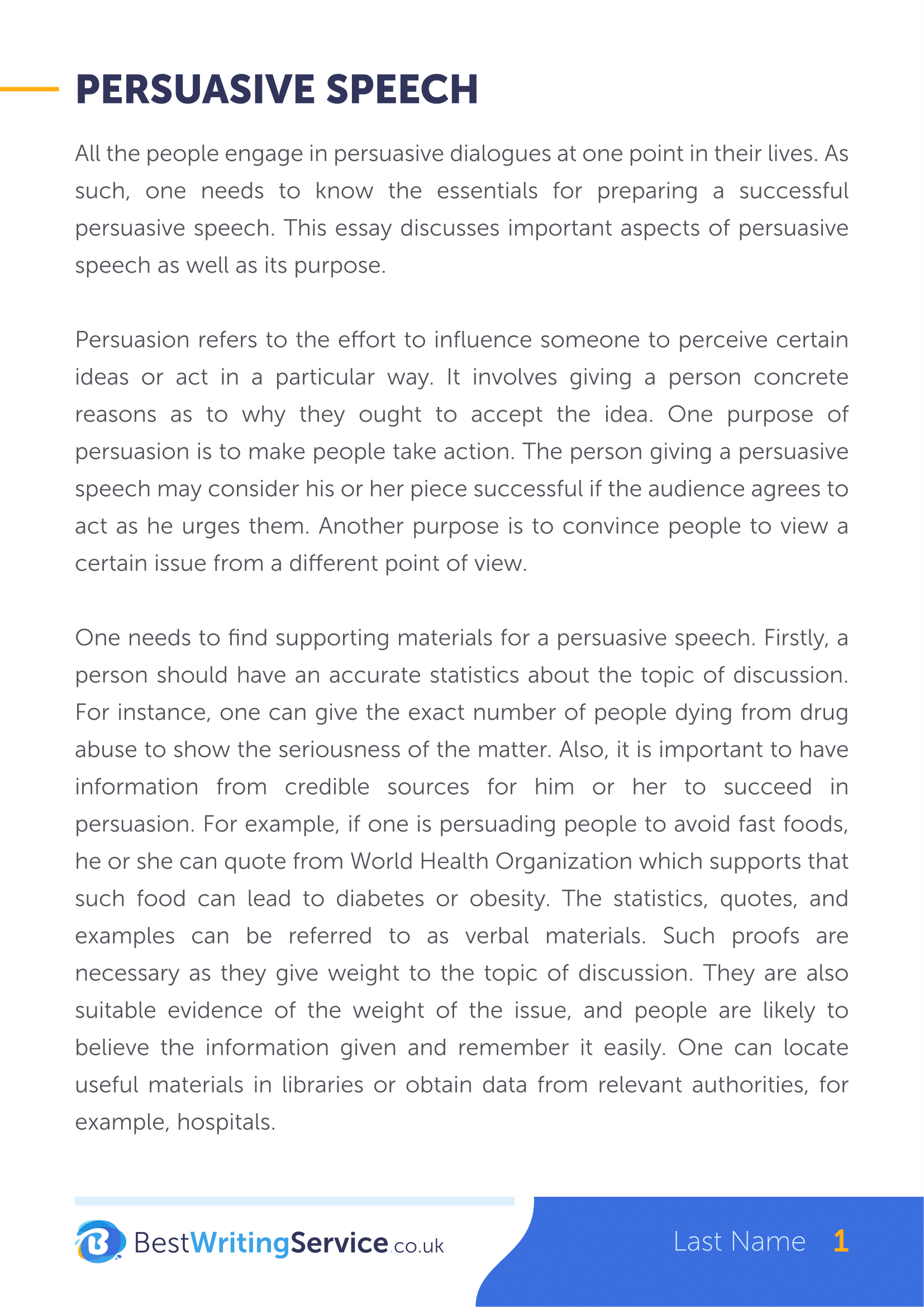 Professional speech writing services